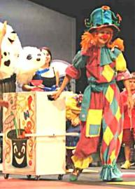 Clown with performing box of tricks