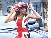 Julia Gayle at press shoot for Union Jack newspaper