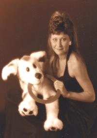 Julia Gayle and dog puppet